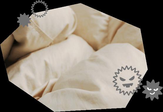 洗わずに放置した布団のイメージ画像